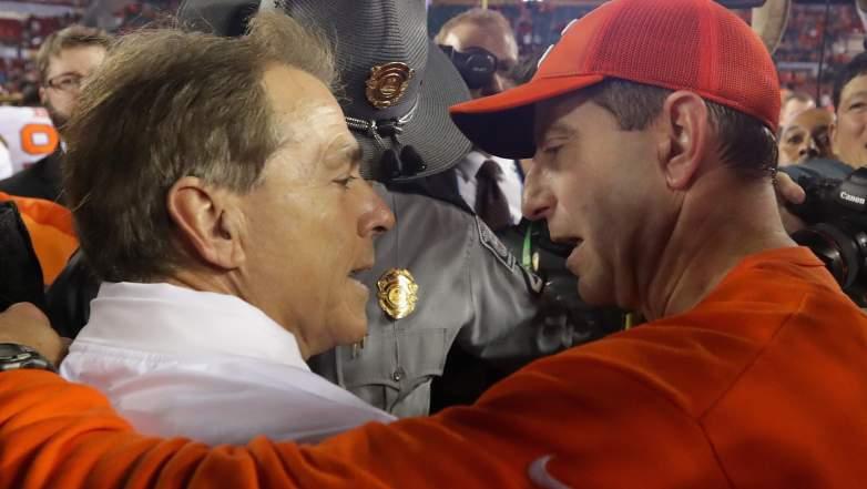 nick saban college football playoff, odds, spread, alabama, clemson