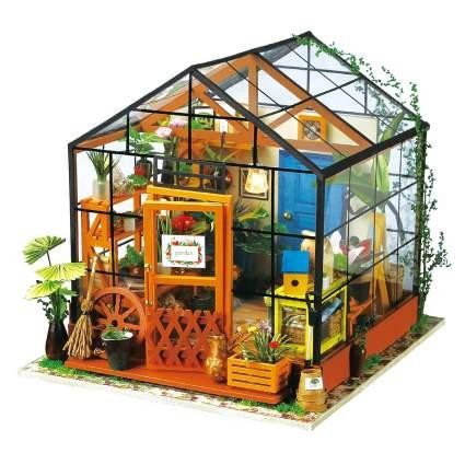 ROBOTIME DIY Dollhouse Wooden Miniature Furniture Kit Mini Green House with LED