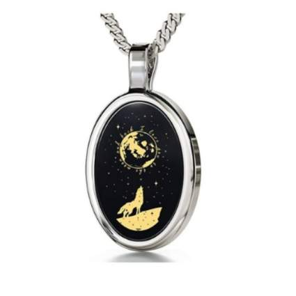 I Love You to the Moon and Back Necklace Wolf Pendant