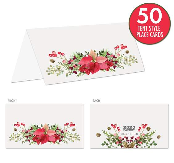 christmas place cards, poinsettia place cards