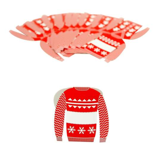 christmas place cards, ugly sweater place cards