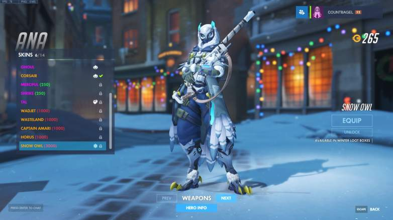 Overwatch Ana Snow Owl