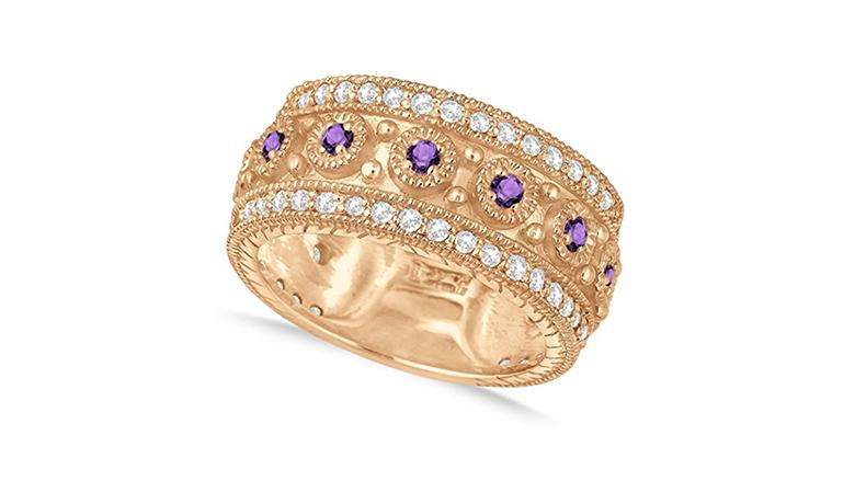 february birthstone, birthstone jewelry, amethyst rings, birthstone rings, amethyst engagement ring, eternity ring, anniversary bands