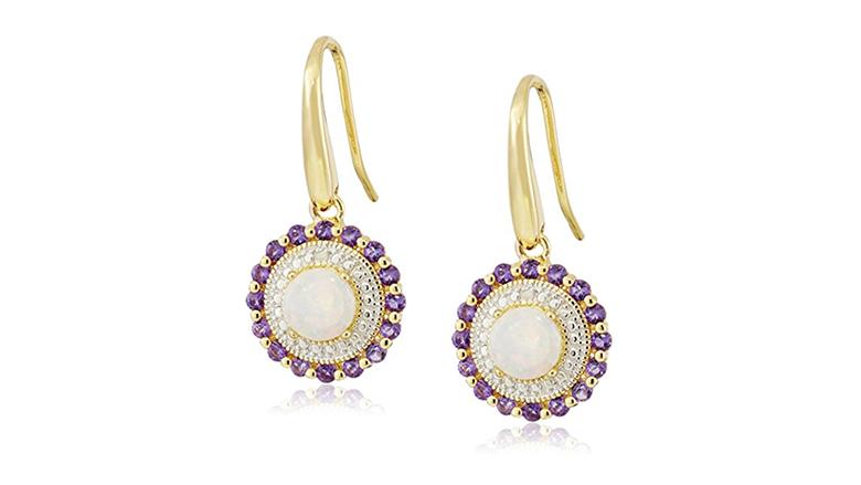 february birthstone, birthstone jewelry, birthstone earrings, amethyst jewelry, amethyst earrings, drop earrings, dangle earrings