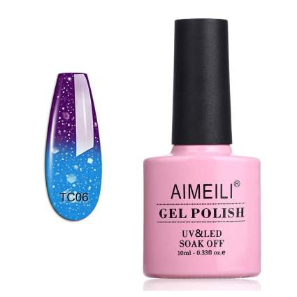 Pink gel polish bottle with thermal swatch