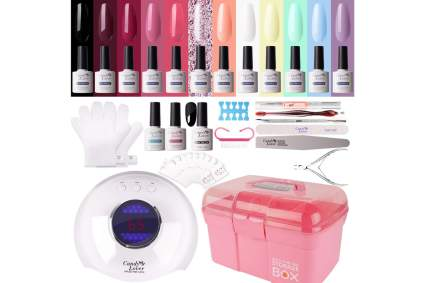 Colorful gel nail kit with lamp and storage