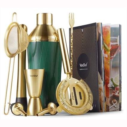 green and gold cocktail shaker set