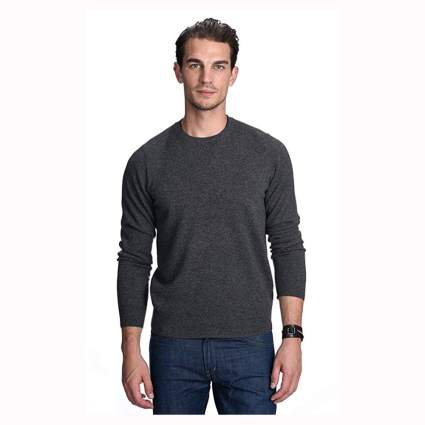 gray men's cashmere pullover sweater