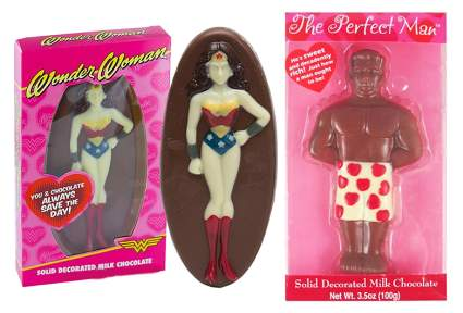 Valentines day chocolate Wonder Woman and chocolate man as best friend gifts