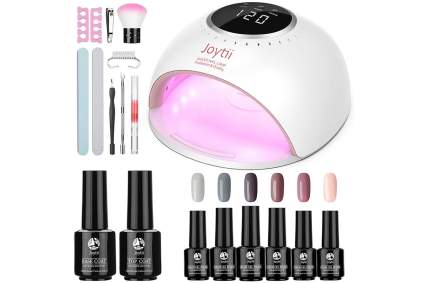 Gel nail polish with nail lamp and tools
