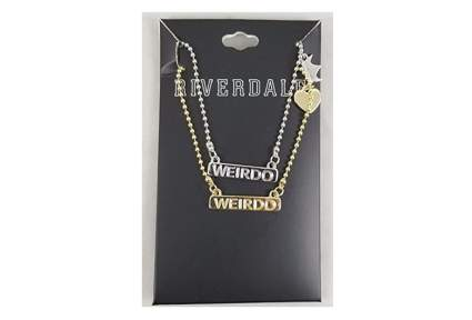 Two matching Riverdale necklaces that say weirdo as best friend valetines gift