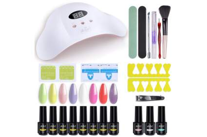 Ab gel nail starter set with lamp and tools