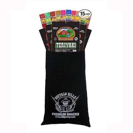 jerky snacks in a black velour bag