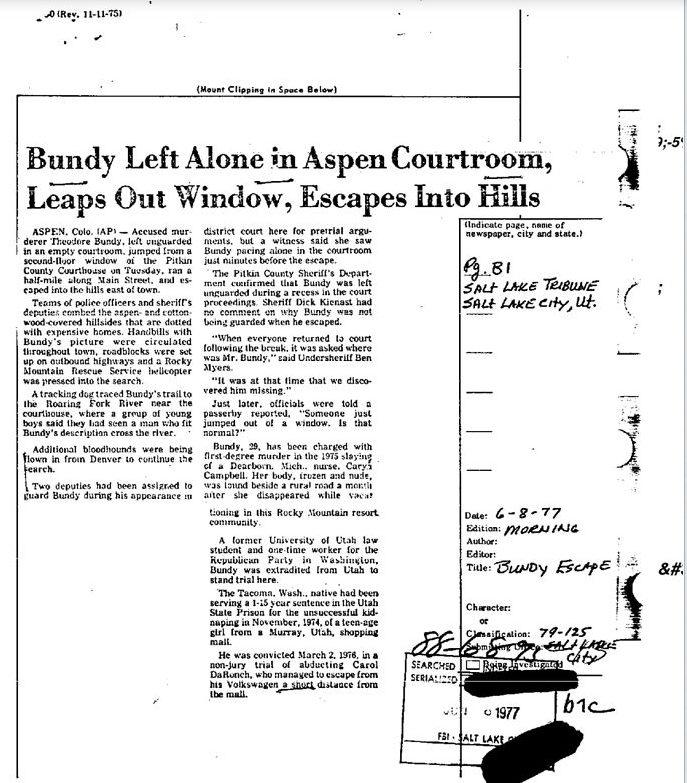 Bundy escape article