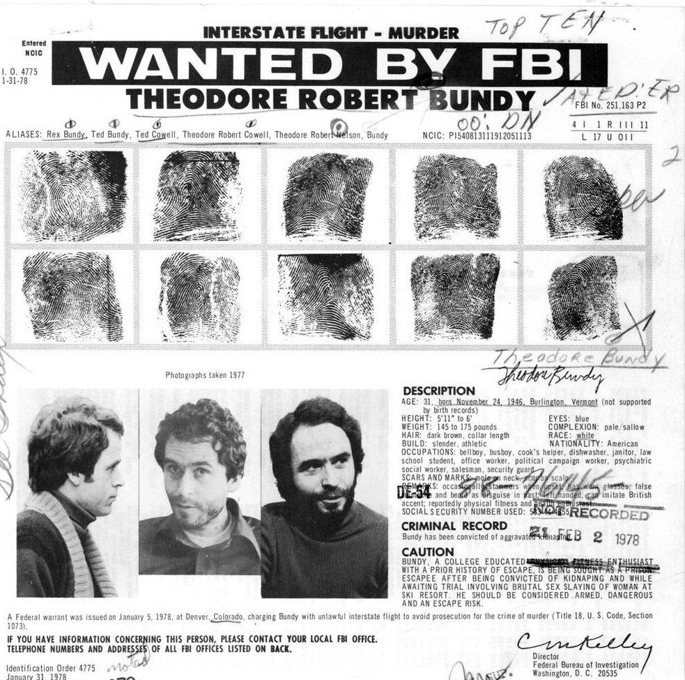 Bundy, wanted, FBI, prison escape, serial killer