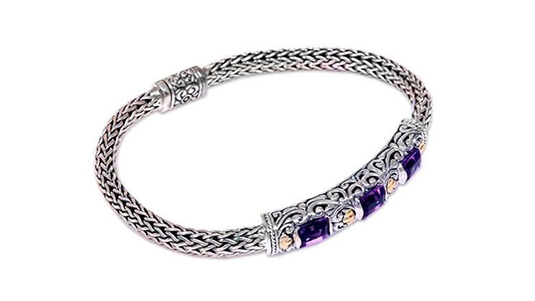 february birthstone, birthstone jewelry, birthstone earrings, amethyst jewelry, amethyst bracelet, birthstone bracelets, gemstone bracelets, novica jewelry