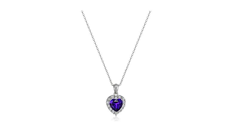 february birthstone, birthstone jewelry, birthstone necklace, amethyst jewelry, amethyst necklace, amethyst pendant, heart necklace