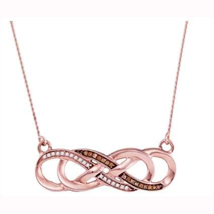 rose gold white and chocolate diamond infinity pendant