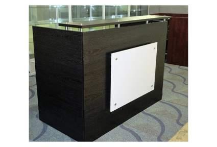 Espresso reception desk with silver square accent