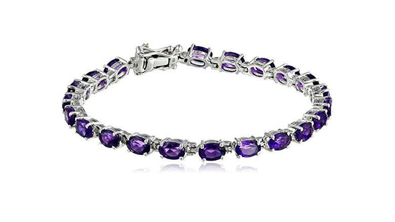 february birthstone, birthstone jewelry, birthstone earrings, amethyst jewelry, amethyst bracelet, birthstone bracelets, gemstone bracelets, tennis bracelet