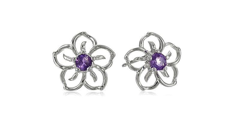 february birthstone, birthstone jewelry, birthstone earrings, amethyst jewelry, amethyst earrings, stud earrings
