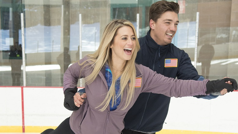 Lesley Murphy Skating With Dean Unglert, Dean Unglert And Lesley Murphy Ice Skating On The Bachelor Winter Games, Dean Unglert And Lesley Murphy Engaged