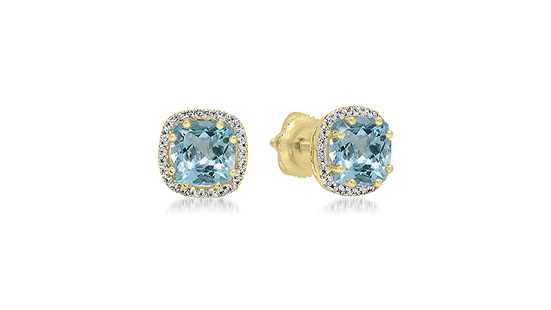 aquamarine stud earrings, aquamarine earrings, aquamarine jewelry