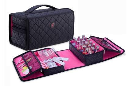 Black and pink soft nail polish carrying case