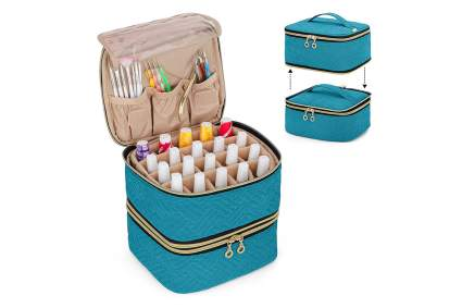 Teal two-tier nail polish case