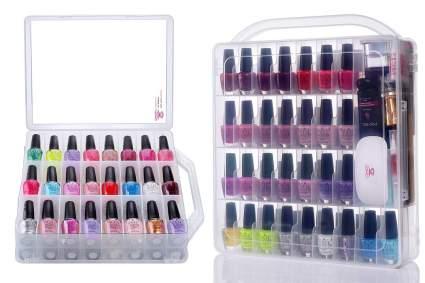Nail polish case with nail polish bottles