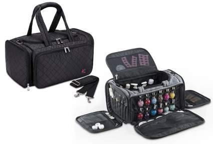 Image of black bag and open grey bag with nail polish storage
