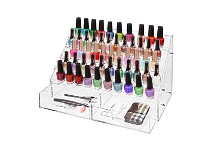 Clear plastic stand with drawers and 5 levels of nail polish