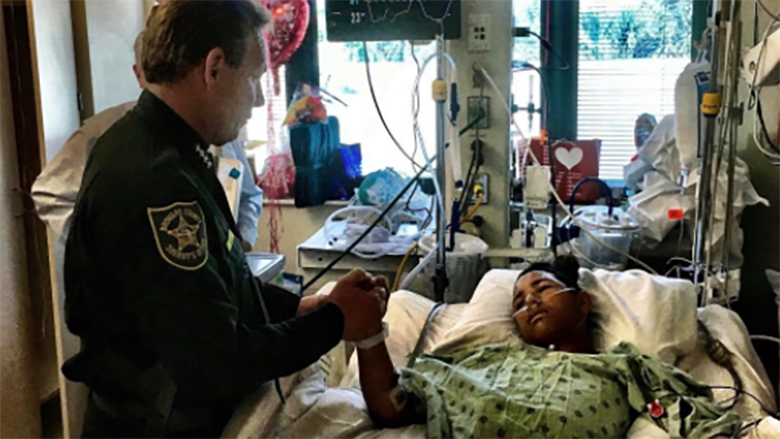anthony borges in hospital bed, stoneman douglas shooting hero
