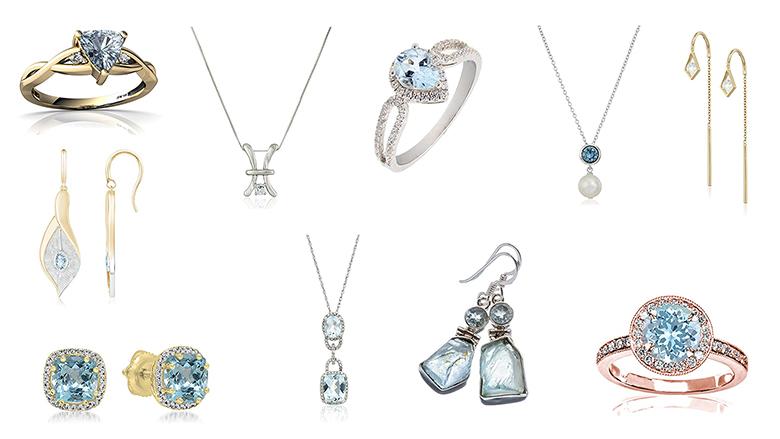 aquamarine jewelry, aquamarine rings, Aquamarine necklace, Aquamarine earrings