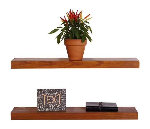 hygge home decor, floating wood shelves