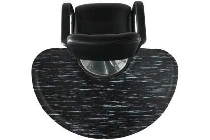 Black salon chair with marble pattern anti-fatigue mat