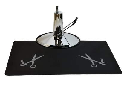 Black salon mat with scissors
