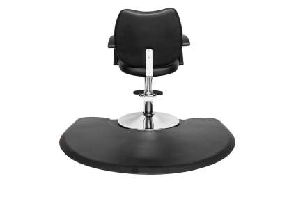 Black salon mat with black salon chair