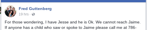 Jaime Guttenberg father, Facebook post, Searching for daughter,