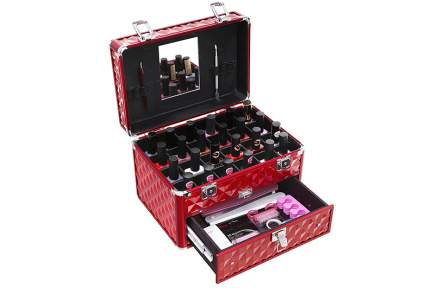 Red metal train case with nail polish organizer and drawer storage