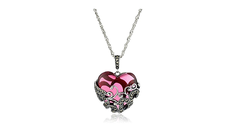 AFFY Sterling Silver Grandmother Granddaughter Split Heart Pendant with Chain