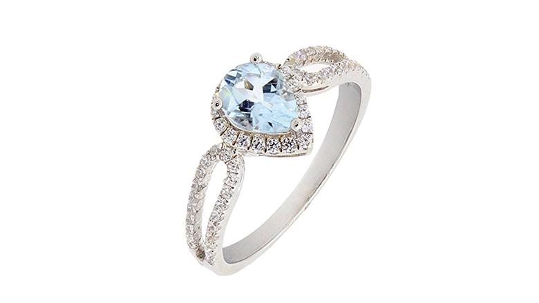 aquamarine ring, aquamarine jewelry, March birthstone