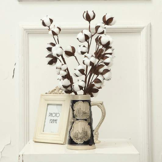 hygge home decor, fake cotton stems