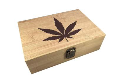 weed box with pot leaf