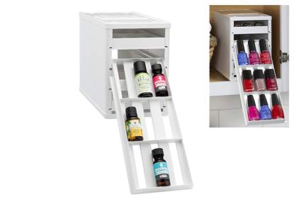White storage bin with pull out racks of bottles
