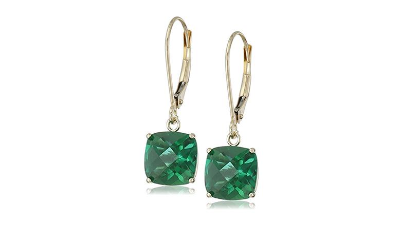 lab created emerald earrings, may birthstone jewelry, emerald jewelry, emerald earrings