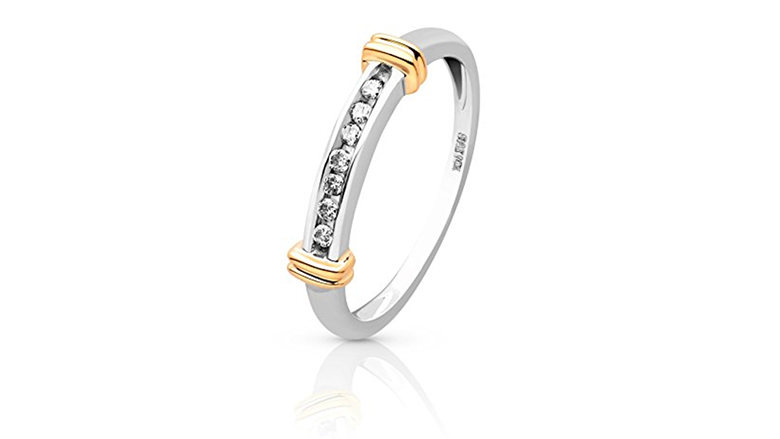 10k white and yellow gold and diamond ring
