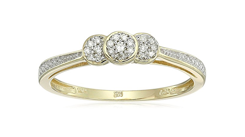 10k yellow gold diamond promise ring