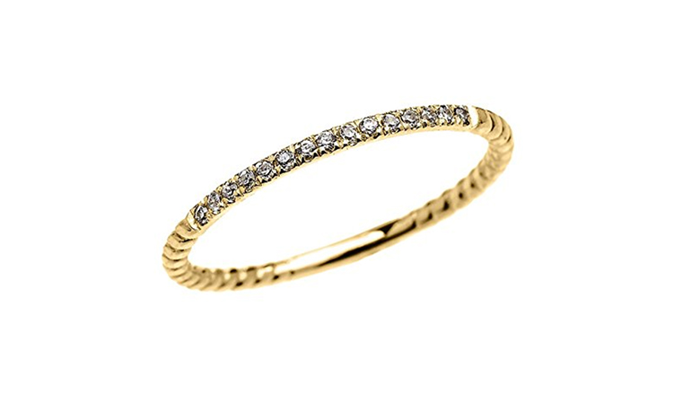 14k yellow gold dainty diamond stackable ring