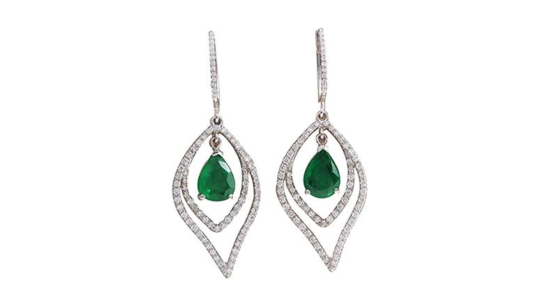 emerald and diamond earrings, may birthstone jewelry, emerald jewelry, emerald earrings